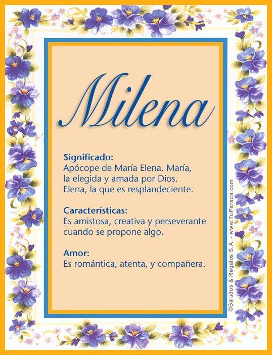 Milena Significado Del Nombre Milena Nombres Significados De Los Nombres Significado De Carmen Significado Del Nombre Erika