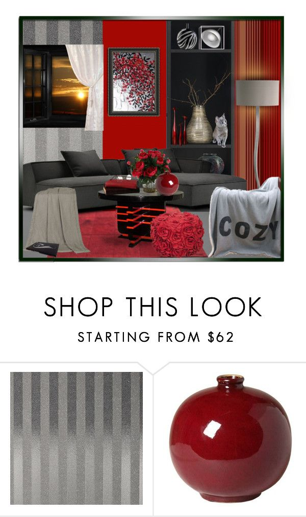 """""""Black, Red or Gray  Cozy Home"""" by suelb ❤ liked on Polyvore featuring interior, interiors, interior design, home, home decor, interior decorating, Emissary, homedecor, decor and polyvoreeditorial"""