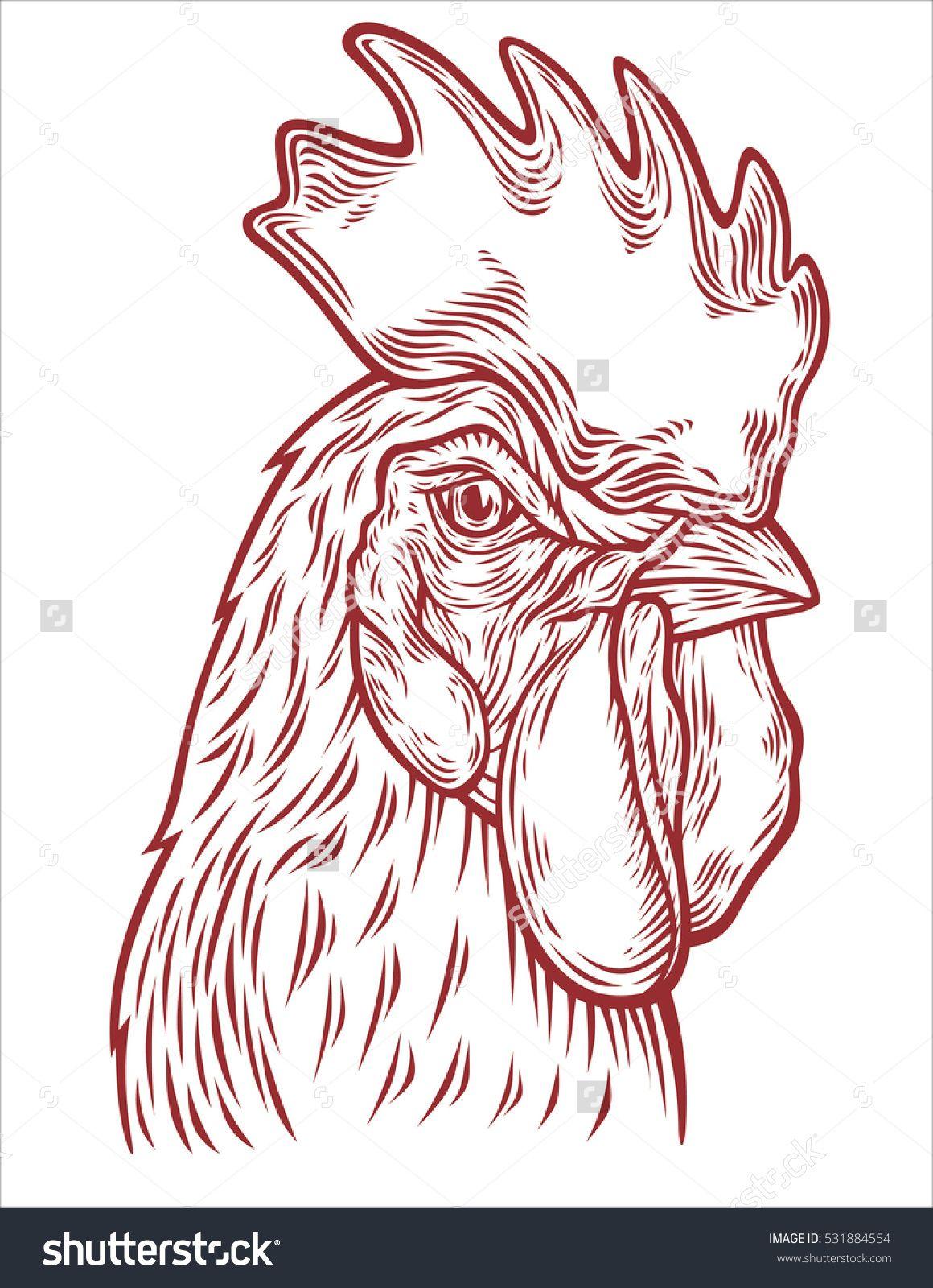 Hand Drawn Rooster Head Vector Illustration Sketch Chicken Portrait