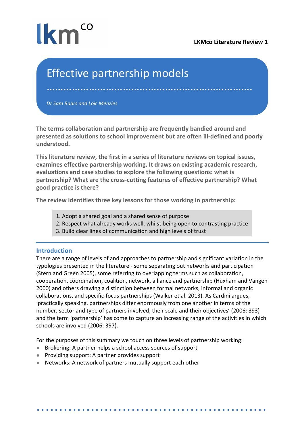 identify the features of effective partnership working