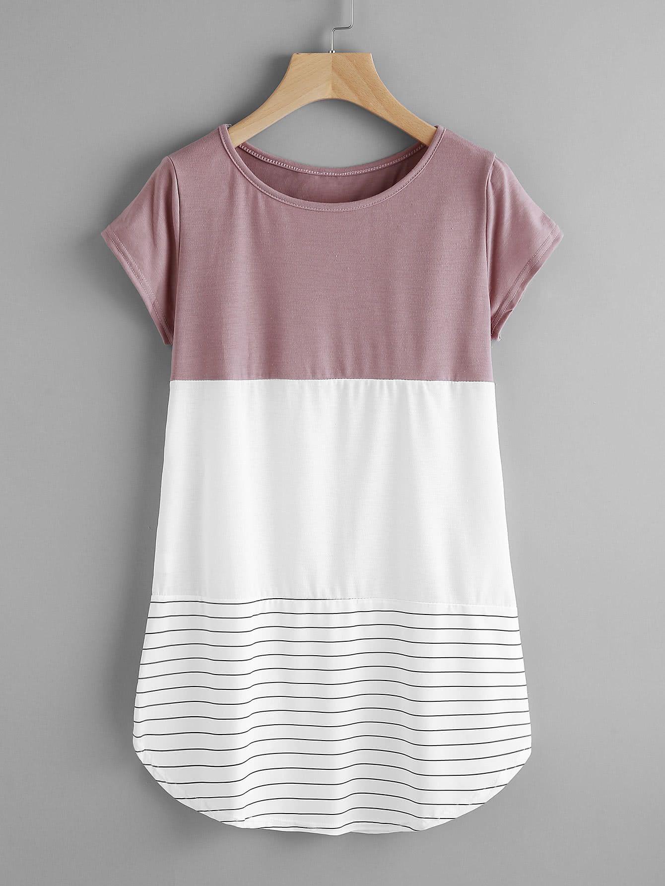 Camiseta de rayas con aplicación de encaje con panel en contraste ...