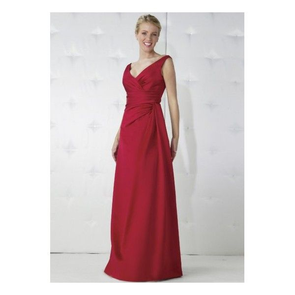 Le Red V Neck D Satin Long Bridesmaid Dress