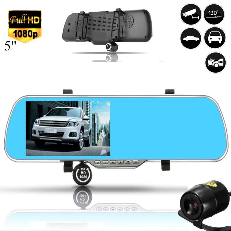 57.23$  Buy here - http://alibs7.worldwells.pw/go.php?t=32788721474 - 5 Inch 1080P Rearview Mirror Android Car GPS Navigation Car DVR Dual Lens Front Rear View Camera Recorder