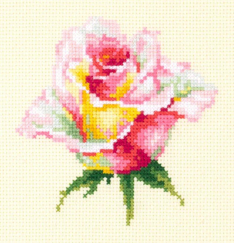 """/""""Yellow rose/"""" Cross Stitch Kit MAGIC NEEDLE 150-005"""