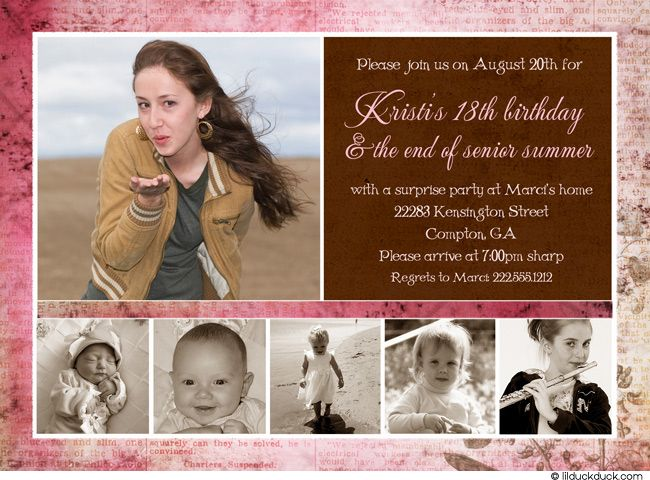 Shabby Floral 18th Birthday Photo Invitation