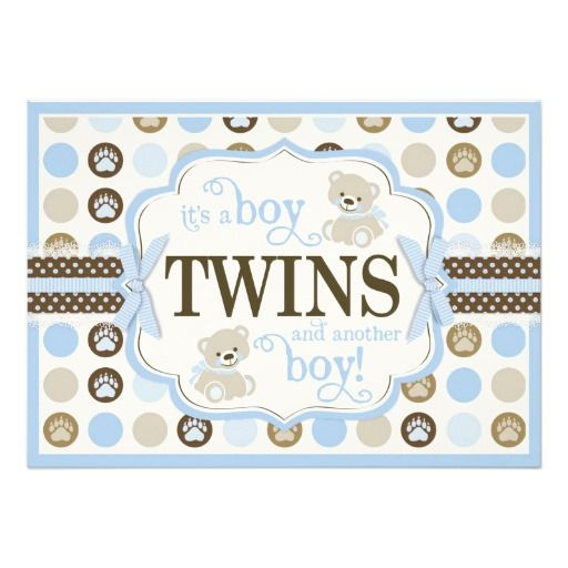 Twin Boys Teddy Bear Baby Shower Blue Custom Announcements! Make your own invites more personal to celebrate the arrival of a new baby. Just add your photos and words to this great design.