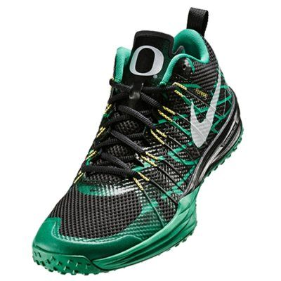 Nike Oregon Ducks Metallic Silver/Kelly/Yellow Strike/Black Lunar TR1 Shoe