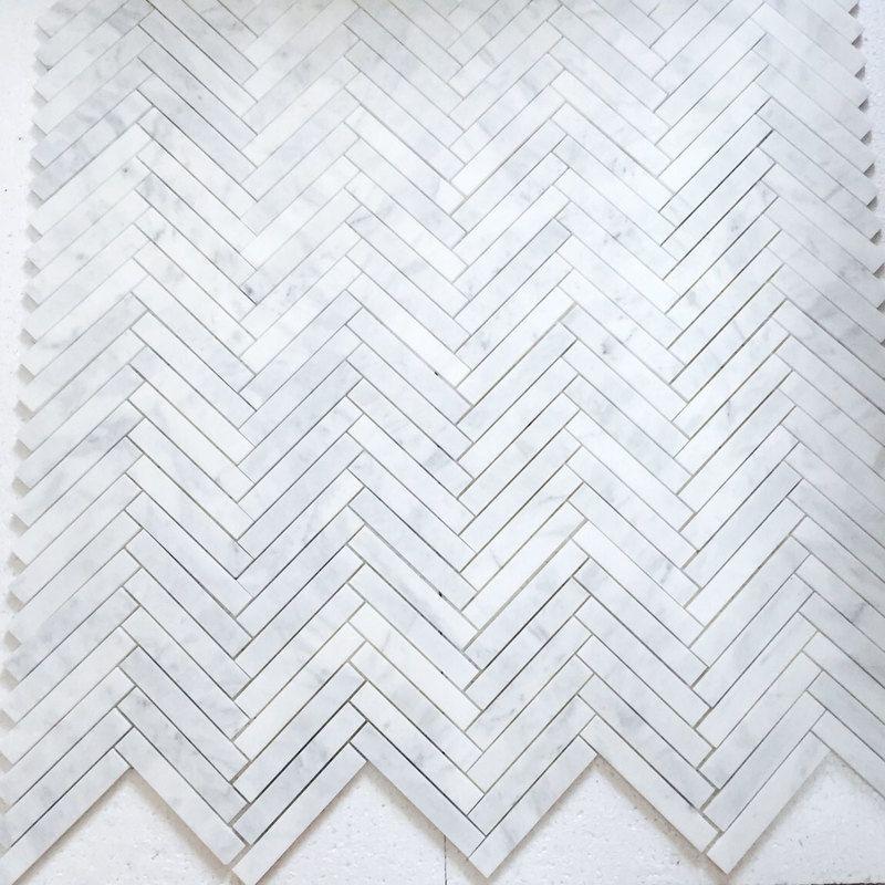 Carrara Marble Italian White Bianco Carrera 1x6 Herringbone Mosaic Tile Polished Herringbone Mosaic Tile Marble Herringbone Tile Herringbone Tile