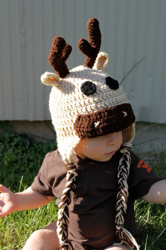 Toddler or Newborn Crochet Moose Hat by makinitmama on Etsy, $22.00