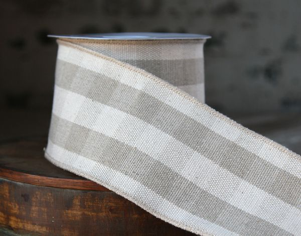 Check out the deal on Plaid Fabric Wired Ribbon Ivory and Tan - 4 Inch Wide x 10 Yards at Battery Operated Candles