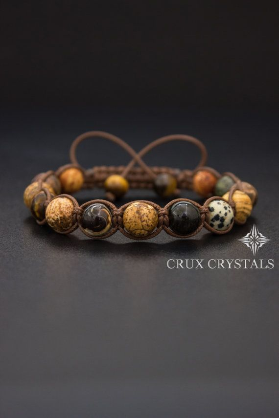 Landscape Jasper Shamballa Bracelet with Onyx End Beads Macrame Bracelet with Landscape Jasper and Onyx Gemstone Beads