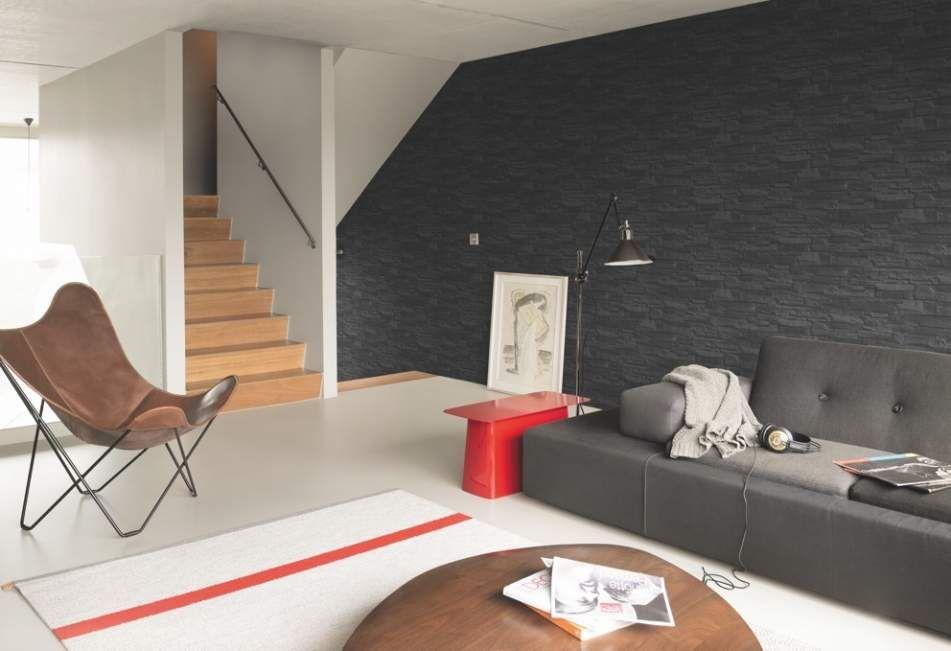 Tapete in Steinoptik im Wohnzimmer von Rausch Wohnzimmer Ideen - tapete wohnzimmer ideen