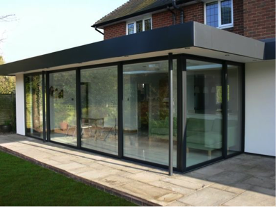 Single storey extension with downpipe single storey for Single glass patio door
