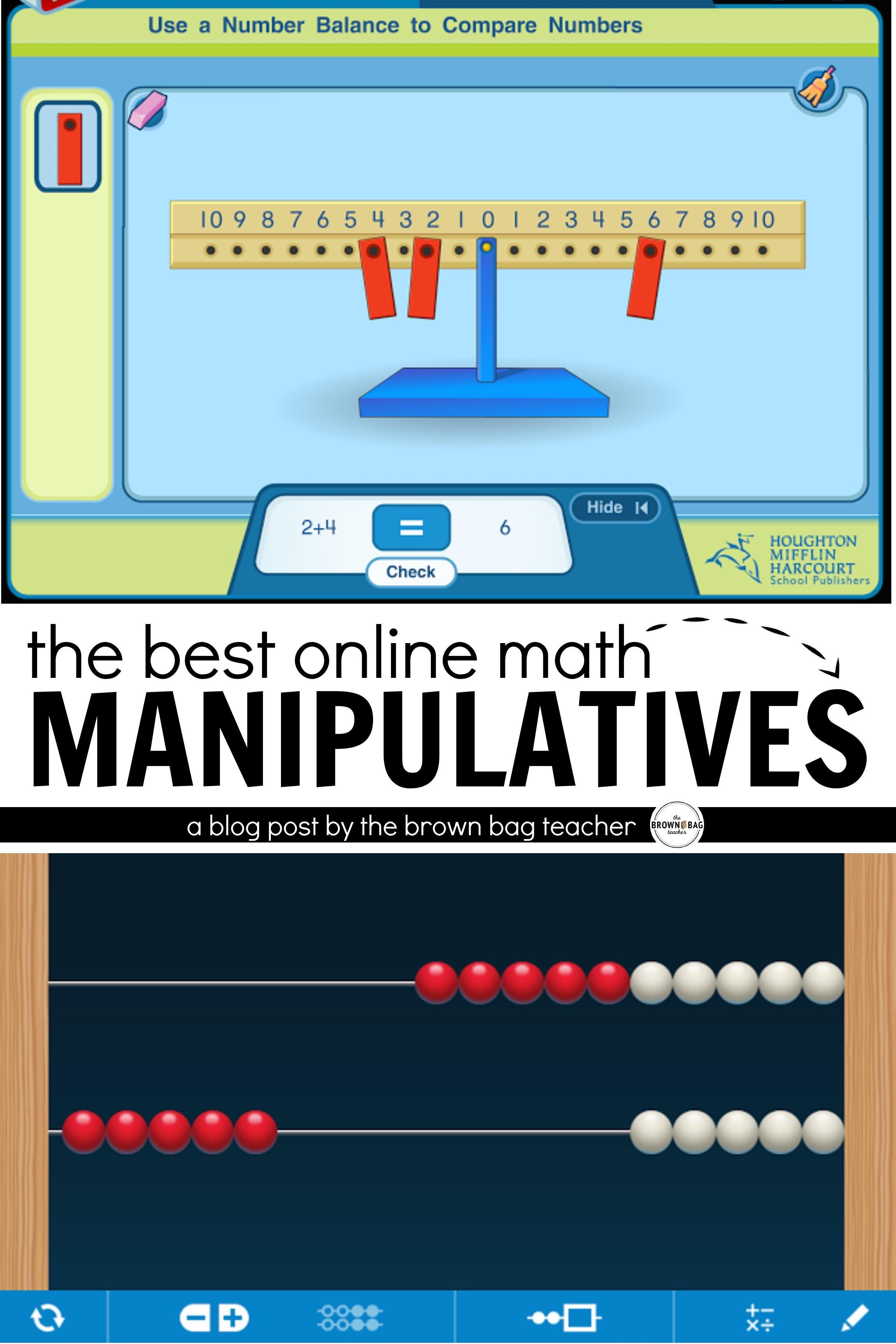 Online Math Manipulatives The Brown Bag Teacher Math Manipulatives Online Math Math Strategies