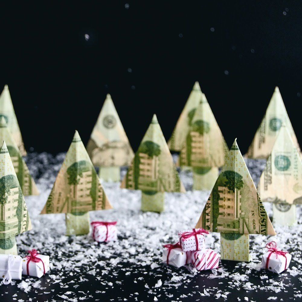 Dollar Bill Origami Christmas Tree: Make A Christmas Money Tree From A Dollar Bill