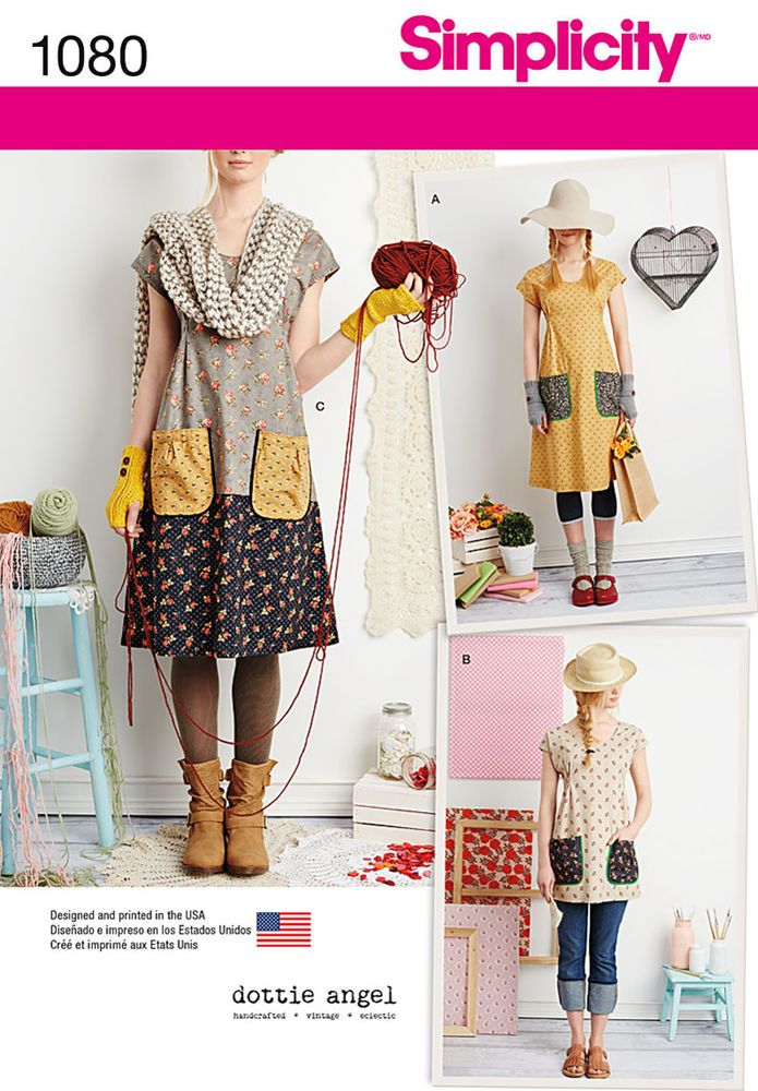 """play with pretty prints and patterns with these """"granny chic"""" frocks for miss. pattern includes cap sleeve dress with optional contrast band, or tunic, all with large contrast patch pockets. dottie angel for simplicity."""