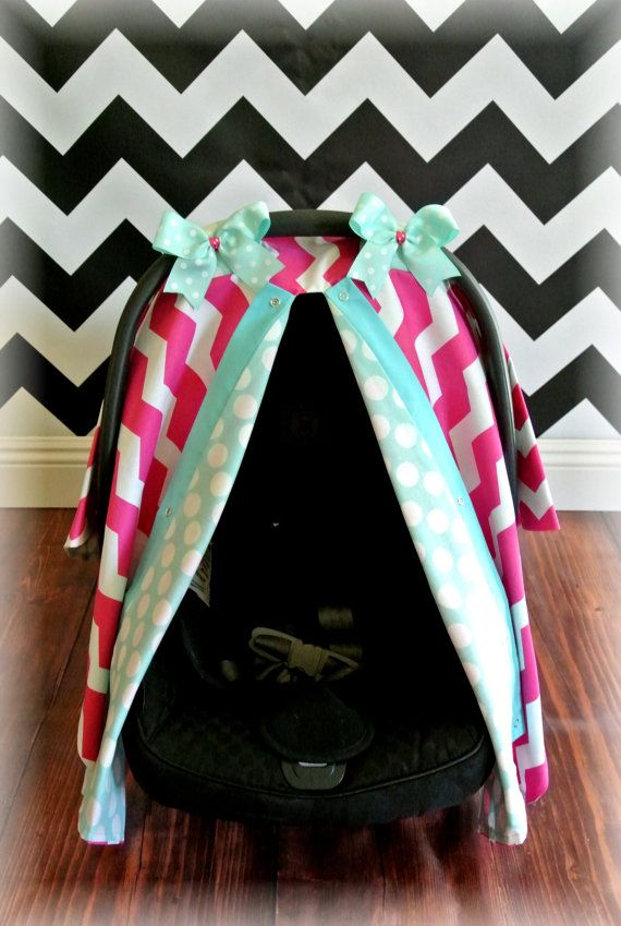 Car Seat Canopy Cover Chevron Teal By JaydenandOlivia 3999