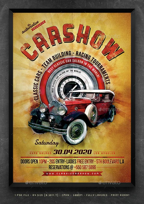 Classic Car Show Poster U2014 Photoshop PSD #automobile #auto Show U2022 Available  Here → Https://graphicriver.net/item/classic Car  Show Poster/14827614?refu003dpxcr