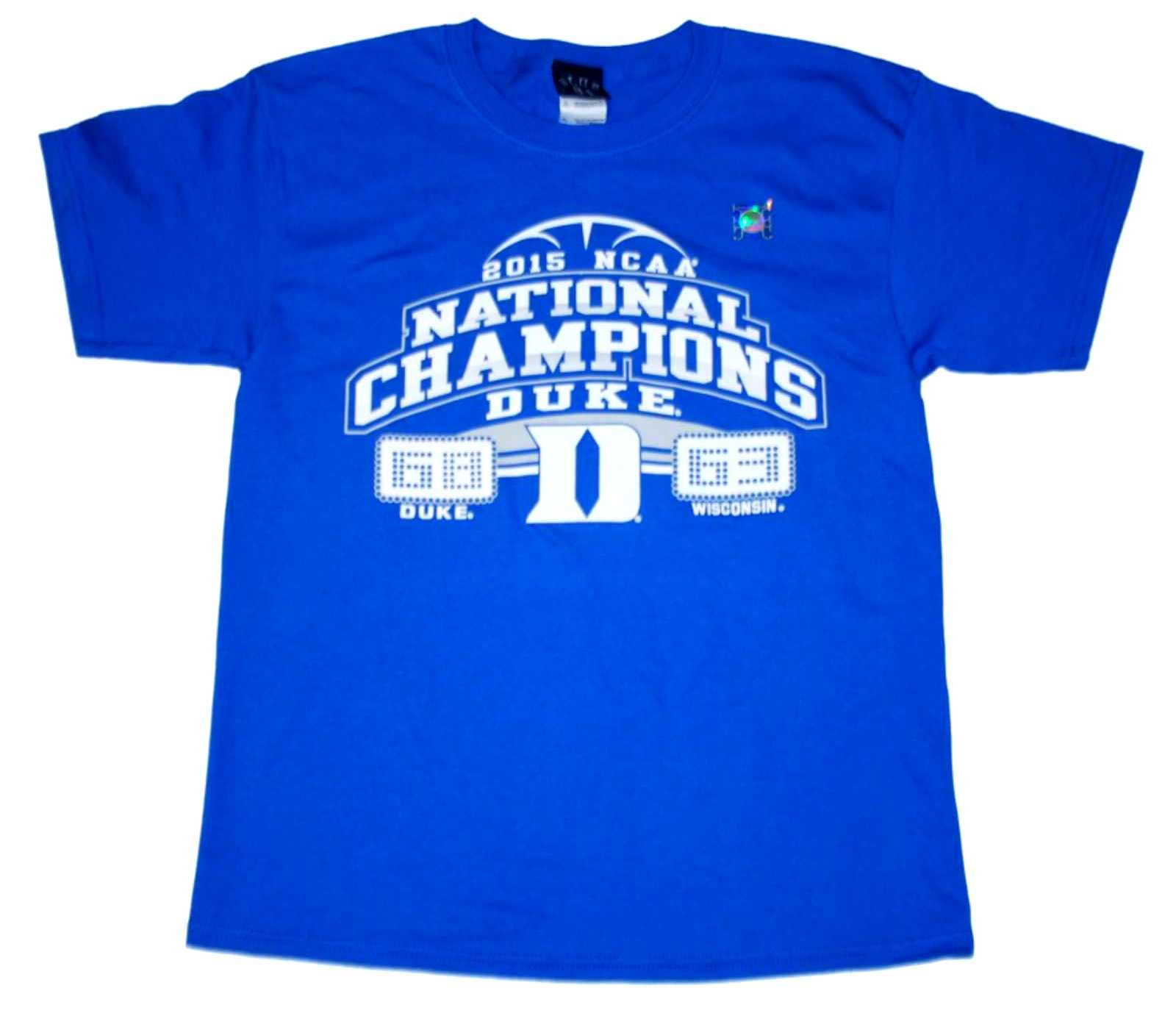 5b7a75d1a4c0 Duke Blue Devils 2015 College Basketball National Champions Youth Short  Sleeve Final Score T-Shirt