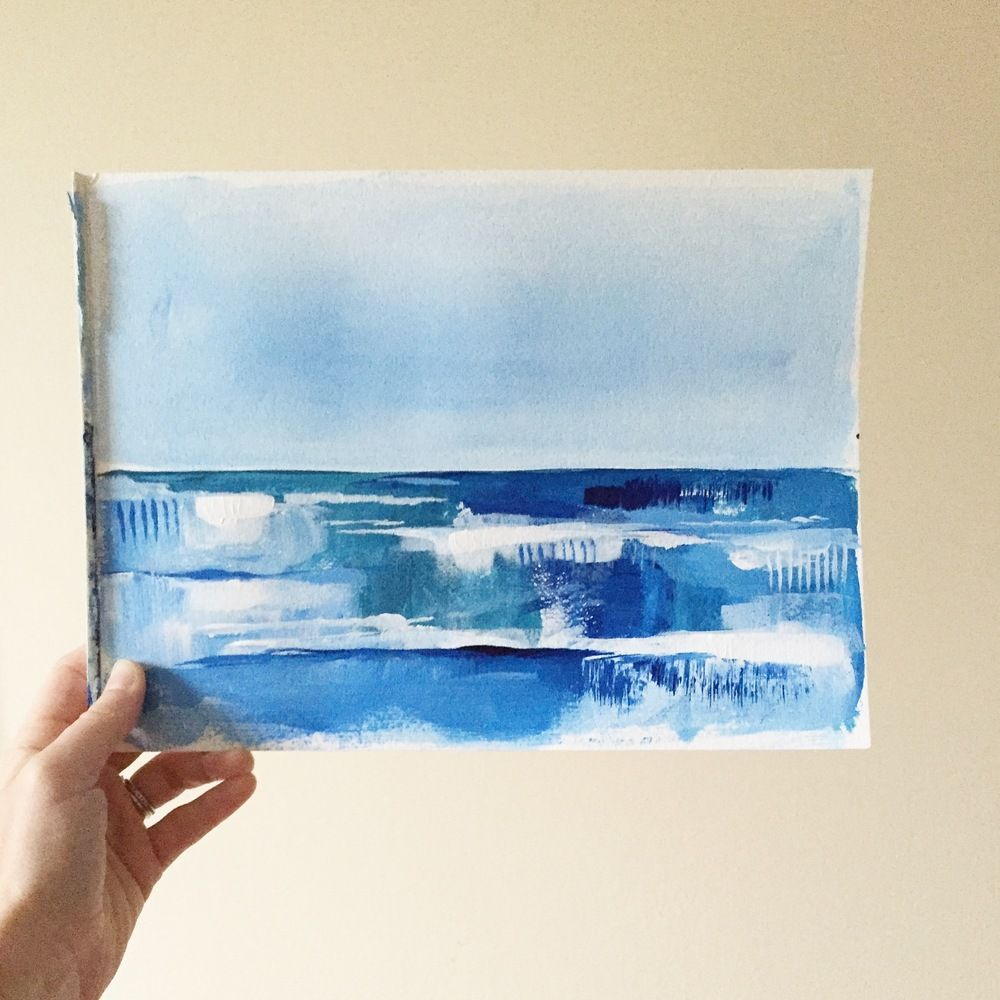 9x12 Ocean Acrylic On Heavy Duty Watercolor Paper Watercolor