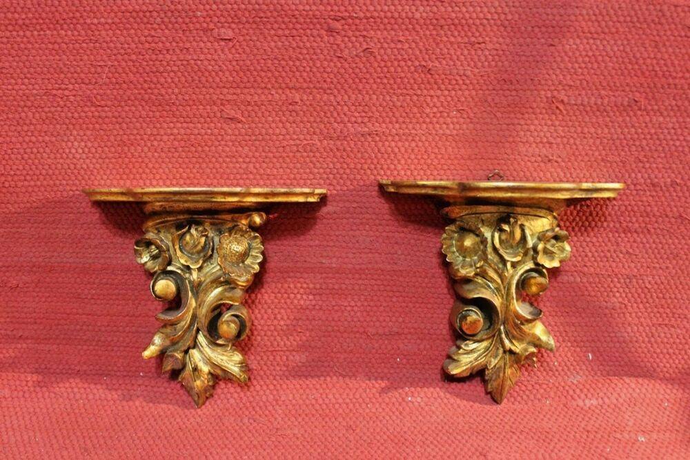 Mensole Legno Torino.Antica Coppia Di Mensole Mensoline In Legno Scolpito A Mano