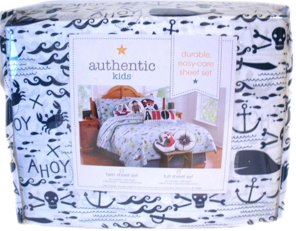 authentic kids boys full size sheet set ocean pirate theme anchors crabs whales authentickids - Kids Full Sheets
