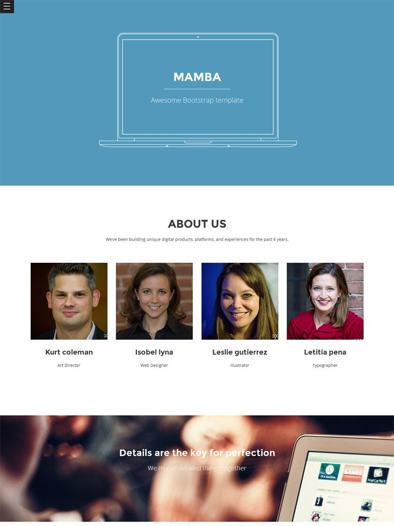 Mamba is a simple & flat one page Bootstrap template, suitable for ...