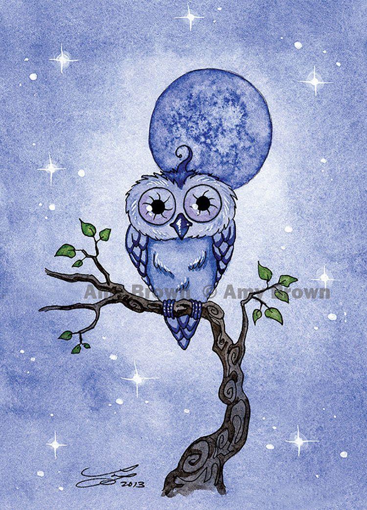 """""""Blue Moon Owl"""" par Amy Brown"""