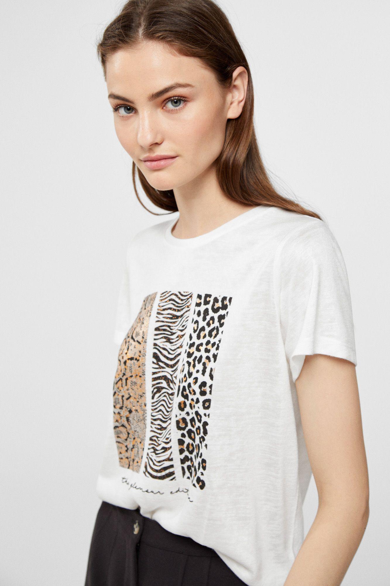 Cortefiel Camiseta Efecto Lino Remeras Estampadas Moda Camisetas