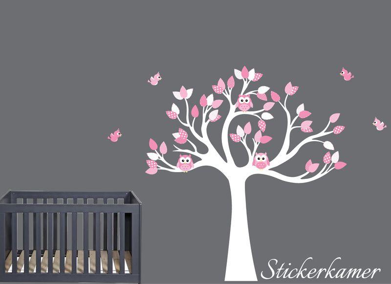 muursticker boom met uilen en vogels (fuchsia/roze) voor in de, Deco ideeën