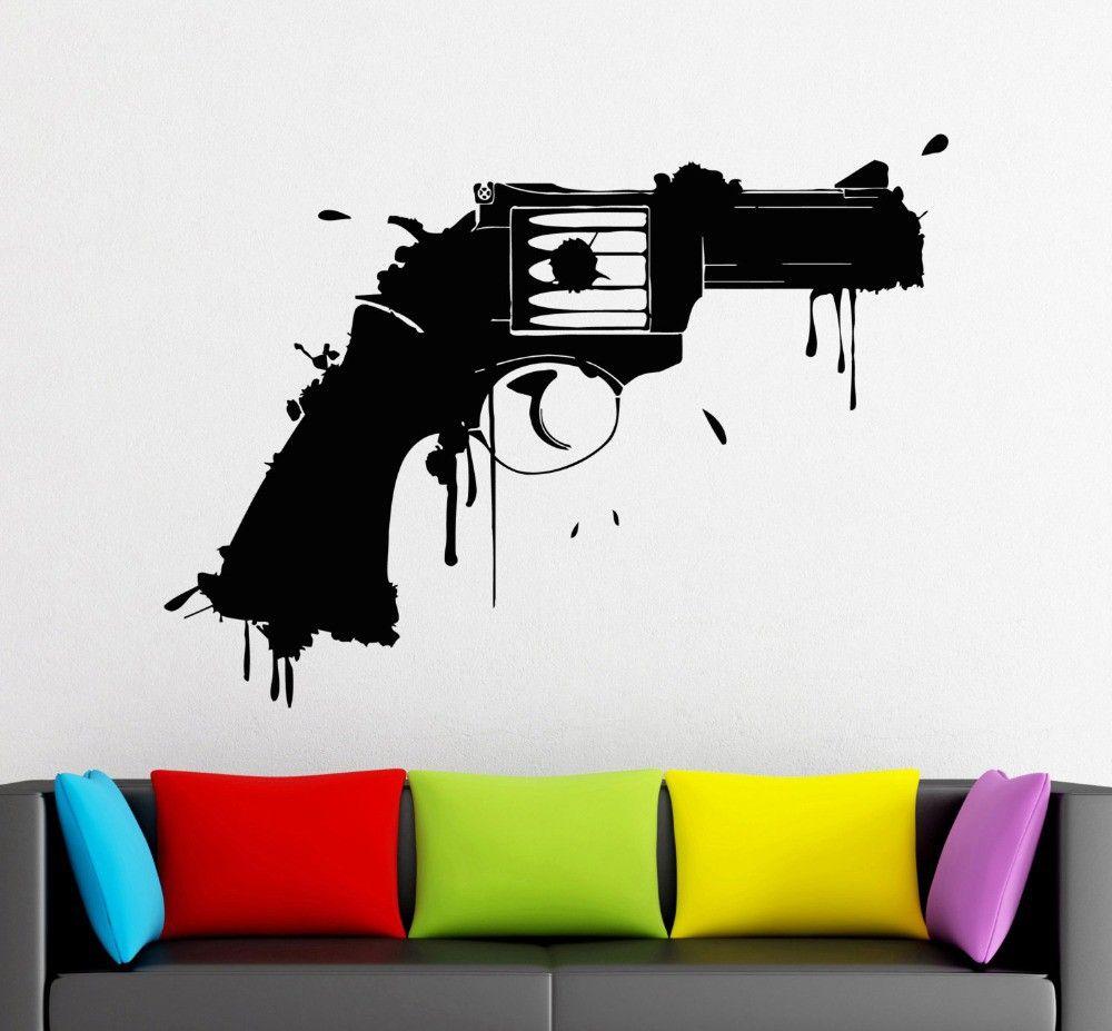 Vinyl Wall Decals Gun Firearm Weapon Art Design Wall Mural Sticker