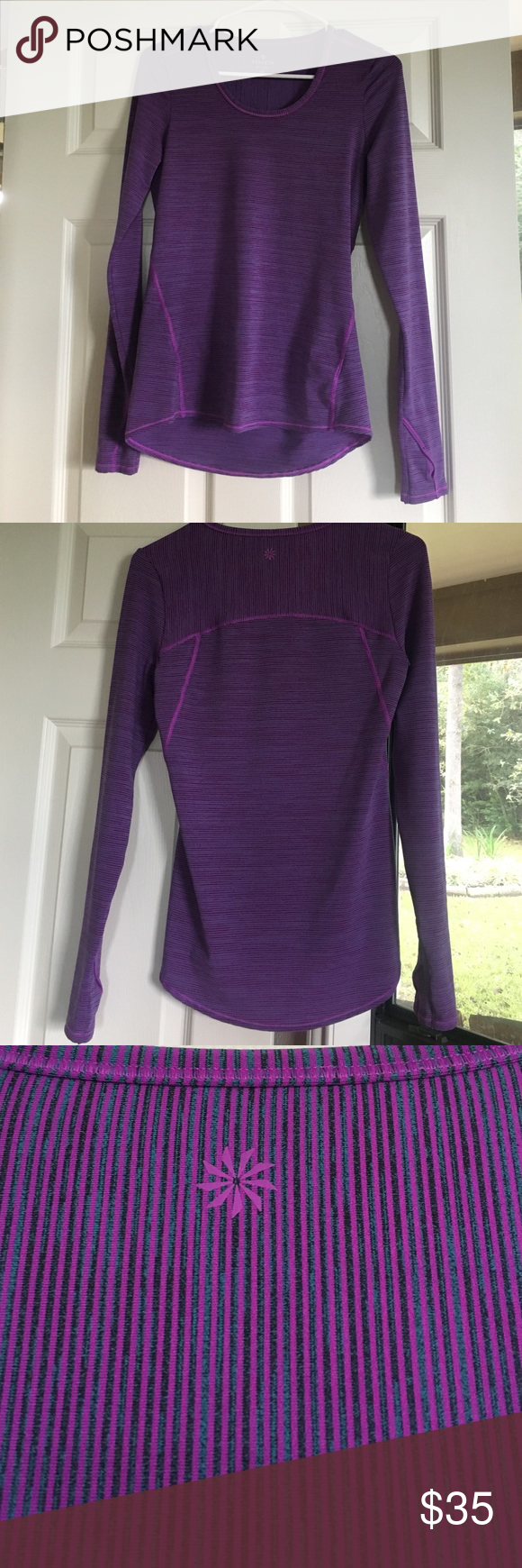 Athleta Top Athleta Long sleeve Striped Chia Top - XS - in excellent condition. Only worn once. Athleta Tops Tees - Long Sleeve