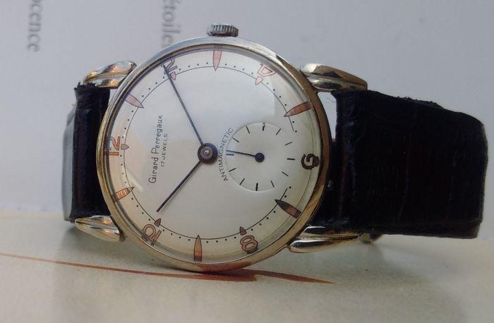 Girard Perregaux - Swiss made-mannen horloge - ' 40s.  De geschiedenis van Girard Perregaux beroemde Zwitserse horlogemaker begint in 1791. Het was op dit moment dat de horlogemaker Jean-François Bautte ondertekend zijn eerste horloges. In 1852 richtte de horlogemaker constante Girard Girard & Cie. Het merk haar werkzaamheden voortgezet en werd al snel Girard Perregaux.Zeldzame ' 40s model van deze beroemde huis in goede cosmetische conditie met ronde stalen kast (35 mm met uitzondering van…
