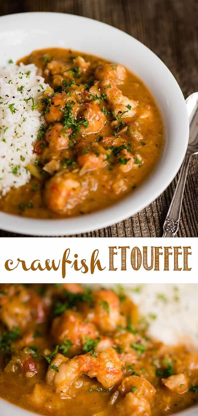 Crawfish Étouffée, full of tender seafood bites smothered in a spicy Cajun tomato based sauce and served over rice, is Southern comfort food at it's best! This New Orleans classic can easily be made at home with this quick and easy recipe. I love to make a big batch and freeze it for when I crave spicy cajun food! #cajunfood