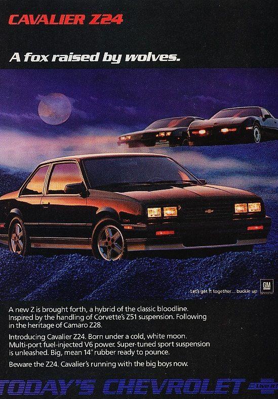 1986 Chevrolet Cavalier Z24 Automobile Advertising Chevrolet
