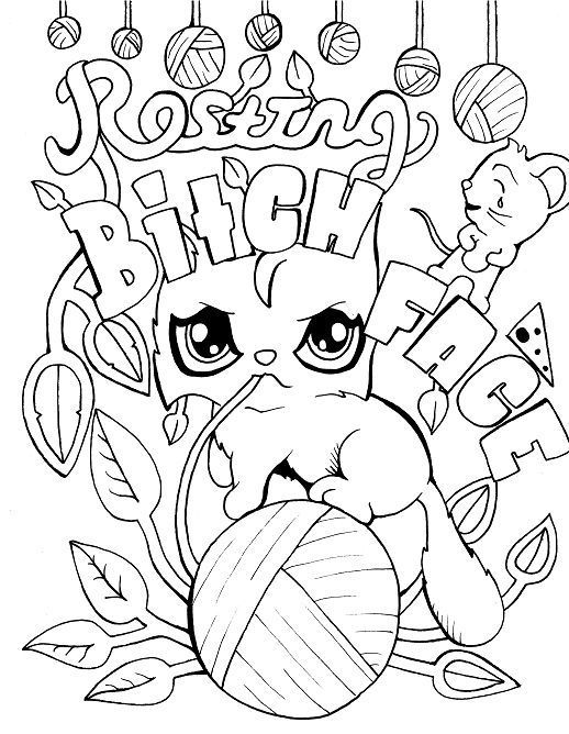 Cat - Adult Coloring page - swear 14 FREE printable coloring pages