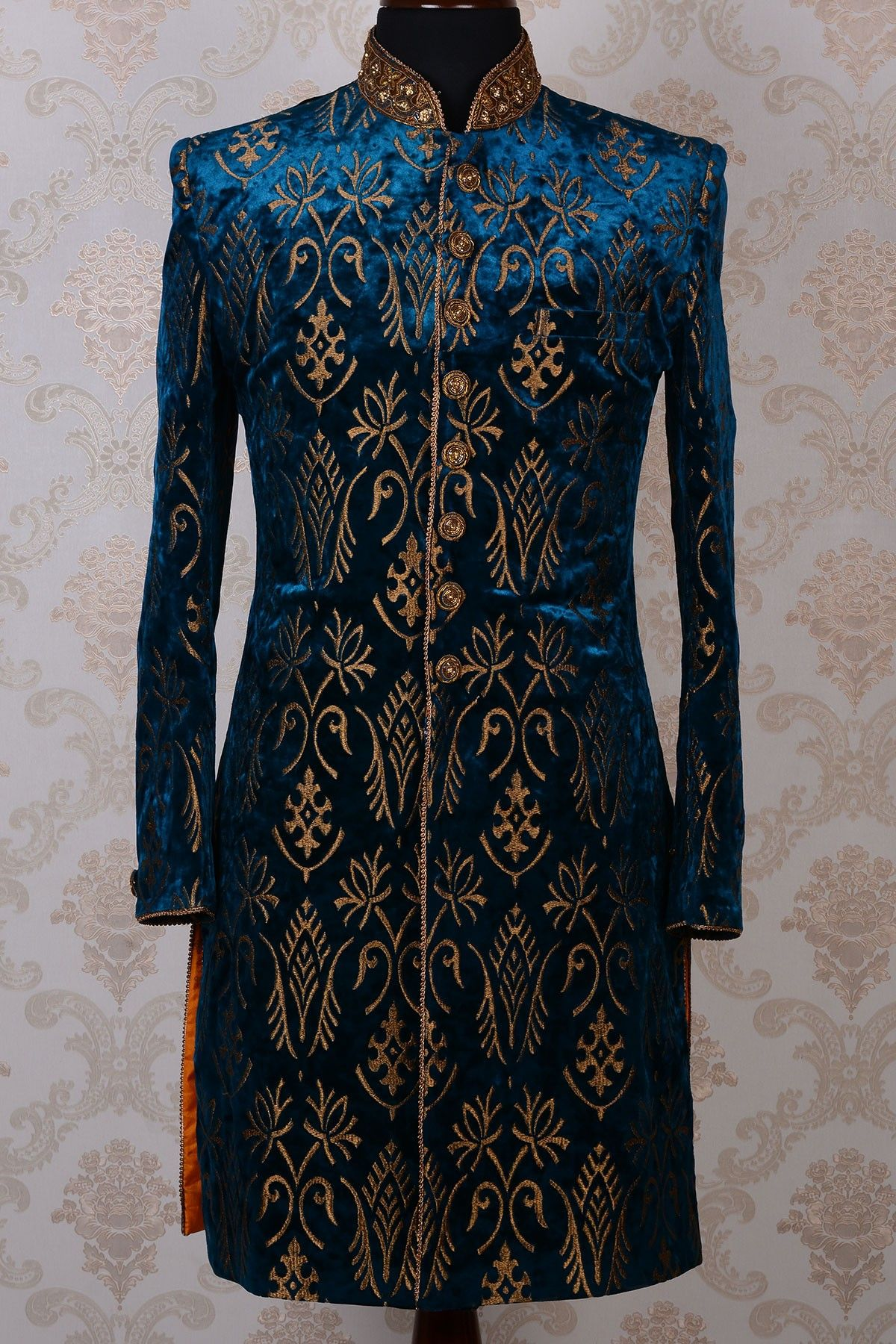 Indo western wedding dress for women  Indo Western SherwaniTeal Blue u GoldZari WorkIW  Sherwani