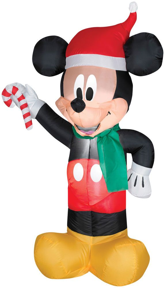 Airblown Inflatable Mickey Mouse Santa With Candy Disney Christmas - inflatable christmas yard decorations