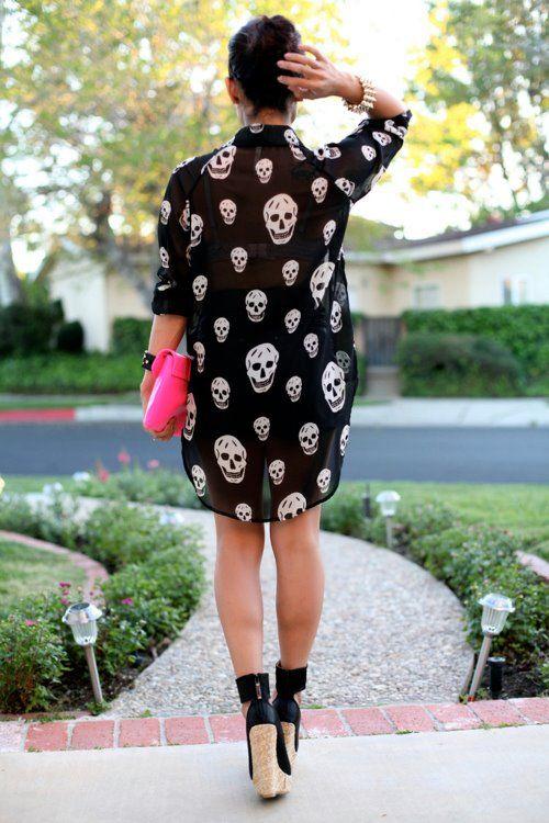 Skull shirt dress