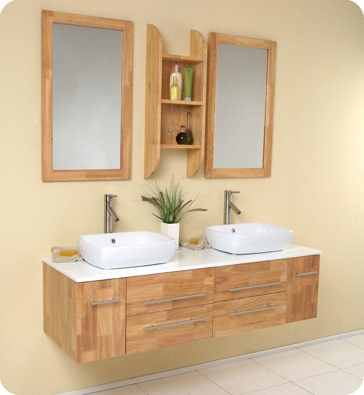 "Modern Bathroom Vanities With Vessel Sinks 59"" bellezza double vessel sink vanity - natural wood. a"