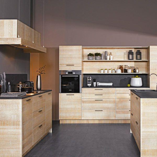 Charmant Cuisine Moderne Couleur Bois: Cuisine: Cuisine Moderne En Bois Avec Clair  Couleur: . Idees De Conception De Maison