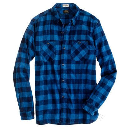 Shuttle notes indigo check button down shirt by j crew for Nice mens button up shirts