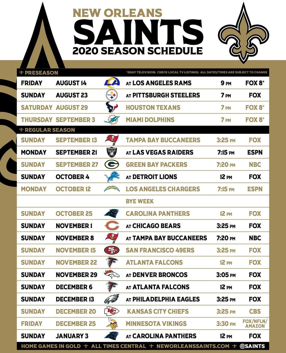 New Orleans Saints Updated Saints Schedule With Preseason Times What Game Are You Mo In 2020 New Orleans Saints News New Orleans Saints New Orleans Saints Football