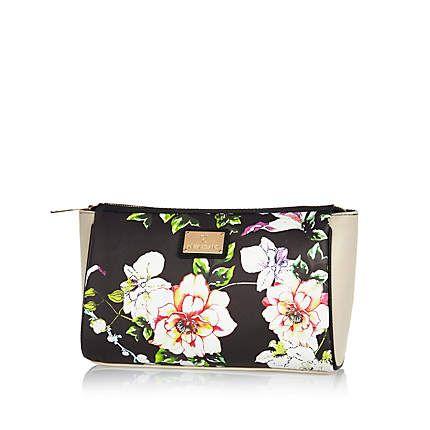 Black floral print wash bag $26.00