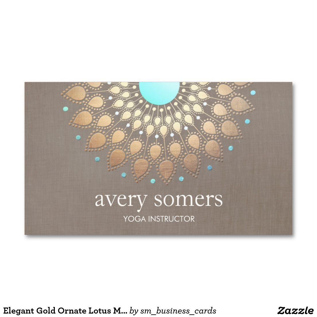Elegant yoga gold lotus mandala taupe linen business card for Elegant taupe paint