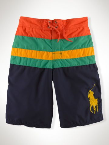 Striped Sanibel Swim Trunk - Boys 8-20 Swim - RalphLauren.com   Polo ... 0b215d40265