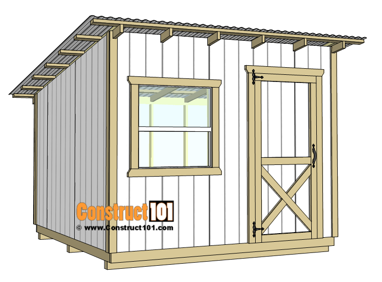 10x10 Lean To Shed Plans Construct101 In 2020 Wood Shed Plans Lean To Shed Shed Plans