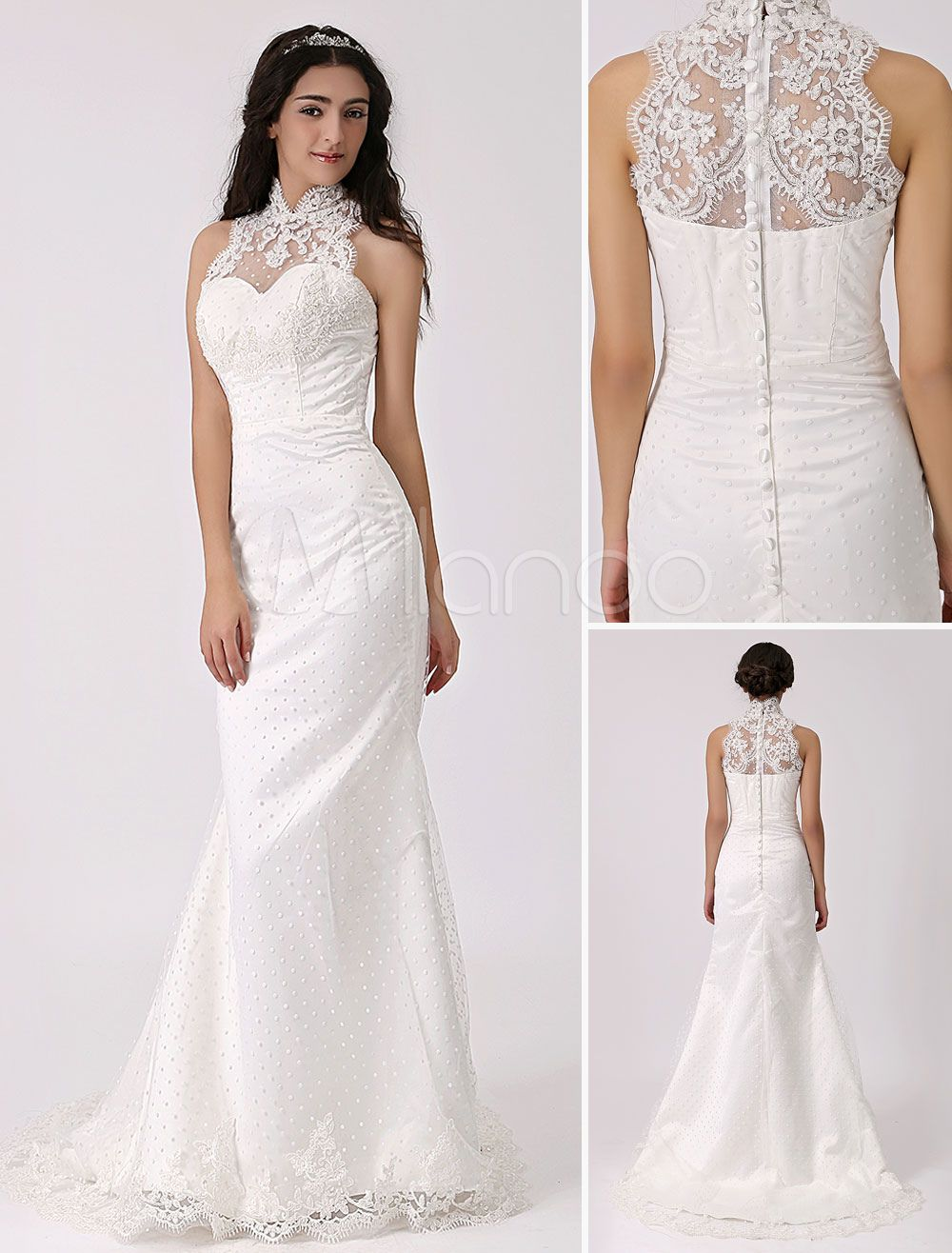 Vintage Inspired Illusion Neck Sheath/Column Wedding Dress with Lace ...