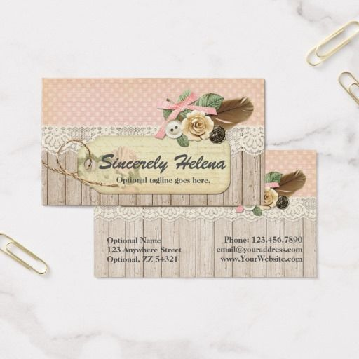 Shabby chic rustic wood lace sincerely helena business card shabby chic rustic wood lace sincerely helena business card craft boutique branding reheart Image collections