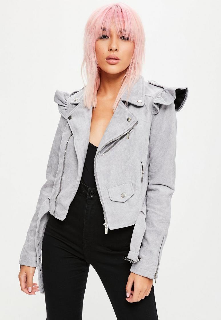 541550f35 Grey Frill Shoulder Faux Suede Biker Jacket | grey all day | Faux ...